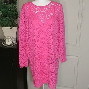 Dkny florescent pink long sleeve lace dress